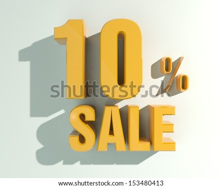 3d letters forming ten percent symbol and the word sale - stock photo