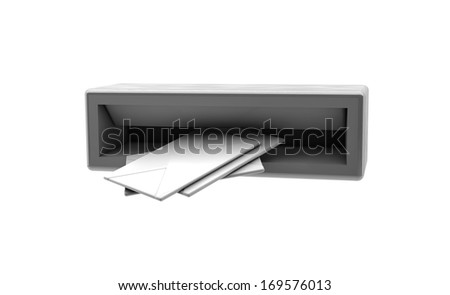 3d Letters in the mailbox on white background - stock photo