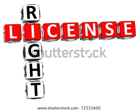 3D License Right Crossword on white background - stock photo