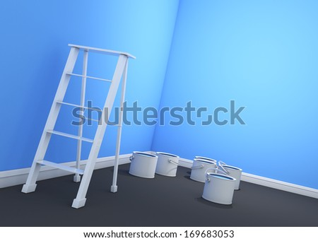3d light blue sky wall painting, ladder, paint cans  - stock photo