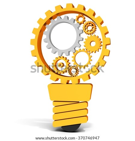3d light bulb with gears and cogs working together on white background - stock photo