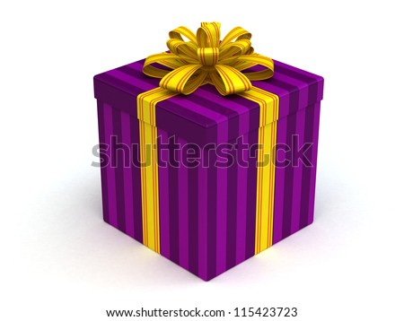 3D lilac Gift christmas box with yellow bow on the white - stock photo