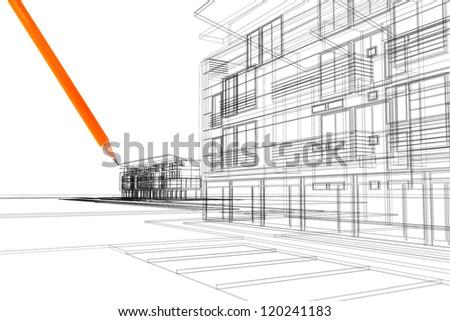 3d linear exterior - stock photo