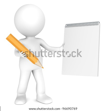 3D little human character holding a Blank Notepad and a Orange Pencil. Textured Paper. Copy Space. People series. - stock photo