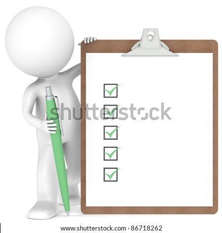 3D little human character holding a Clipboard with Checklist and a Pen. Green color - stock photo