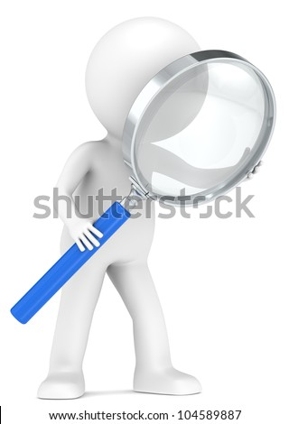 3D little human character with a Magnifying Glass. Blue. Low Refraction effect. People series - stock photo