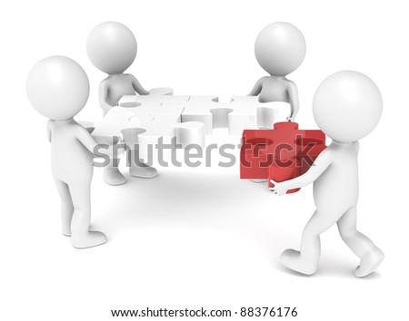 3d little human character X4 The Team solving a jigsaw puzzle. Red - stock photo