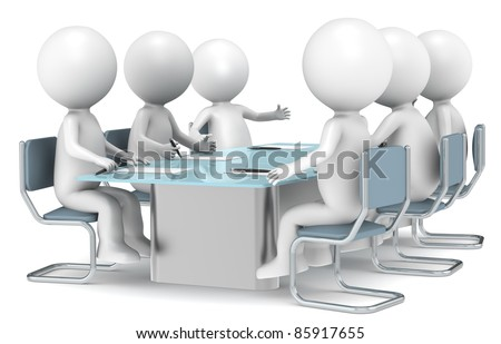 3D little human characters X6 discussing in a meeting. Business People series. - stock photo