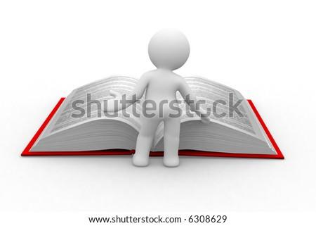 3d little human read an open book - stock photo