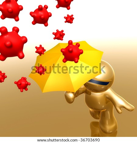 3d little icon using yellow umbrella to protect from virus - stock photo