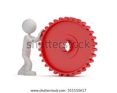 3d little man push red gear, isolated white background - stock photo