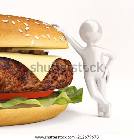 3d little man with burger on white. Render - stock photo