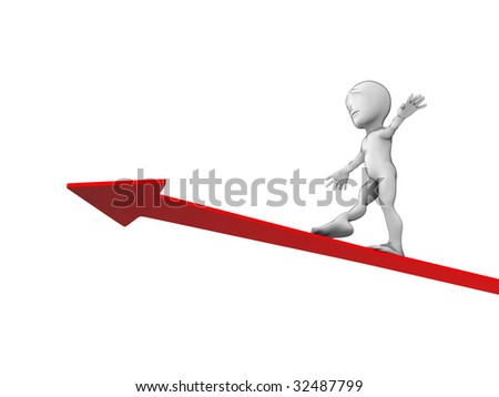 3d little person with red lines on white background - stock photo