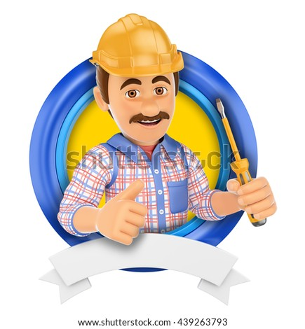 3d logo illustration. Electrician with screwdriver. Isolated white background. - stock photo