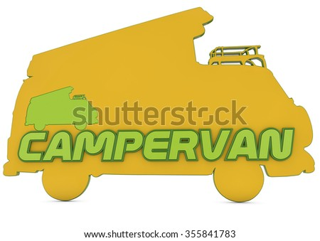 3d logo, silhouette of campervan with campervan text - stock photo