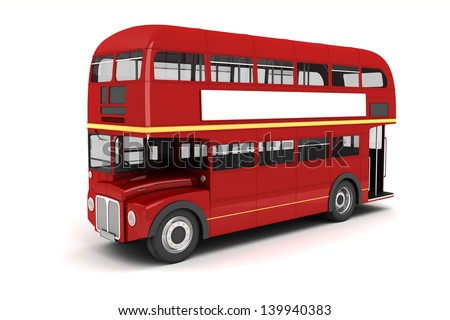 3d london bus on white background - stock photo