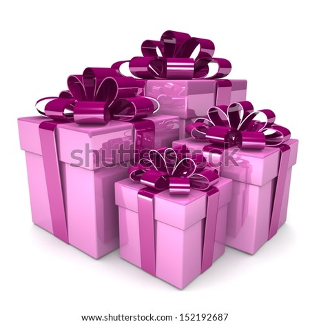 3D lot of bright gift boxes - design element for different designs of the holiday: Christmas, Valentine's Day, New Year Holidays birthdays. . - stock photo