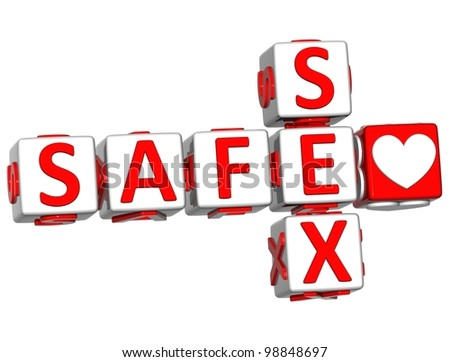 3D Love Safe Sex Crossword text on white background - stock photo