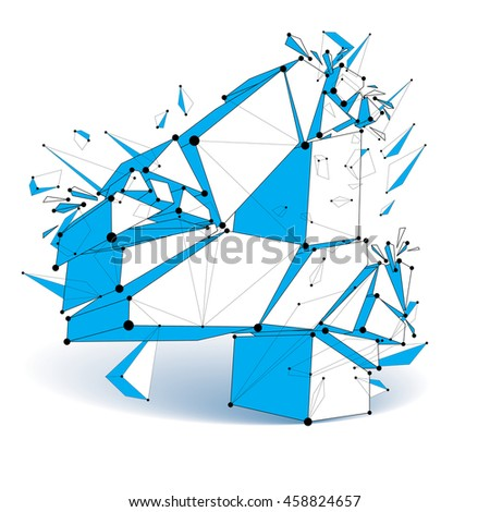 3d low poly number 4 with black connected lines and dots, geometric wireframe font with fragment. Perspective shattered thread digit. - stock photo