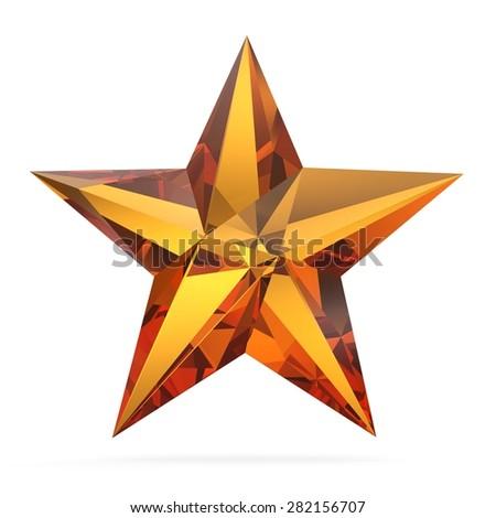 3d low-poly polygonal star. Low poly star - stock photo