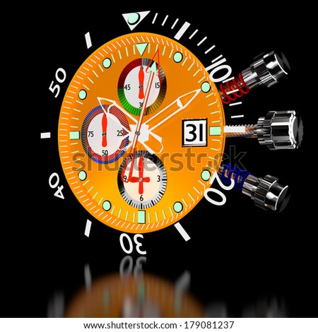 3d luxury watches in chronograph. - stock photo
