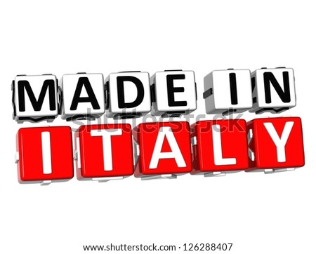3D Made in Italy button over white background - stock photo