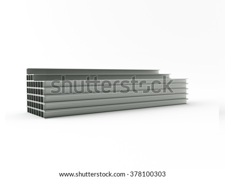 3d made steel girder on white background - stock photo