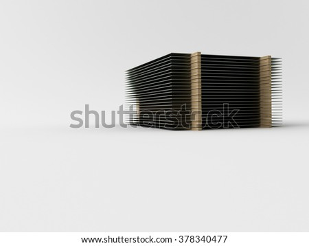 3d made steel plate on white background - stock photo