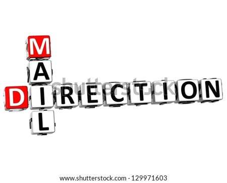 3D Mail Direction Crossword on white background - stock photo