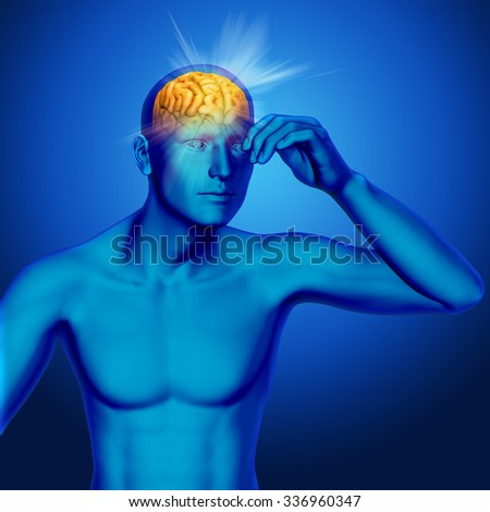 3D male medical figure with rays coming out of brain - stock photo