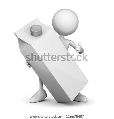3d man and a milk box - stock photo