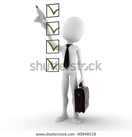 3d man and check list isolated on white background - stock photo