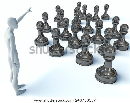 3d man and chess - stock photo