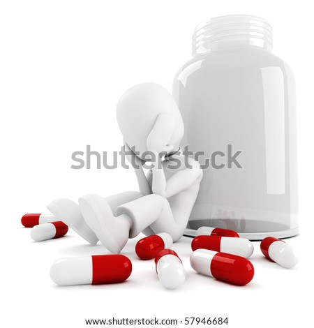 3d man and lots of pills, isolated on white - stock photo