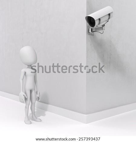 3d man and security camera - stock photo