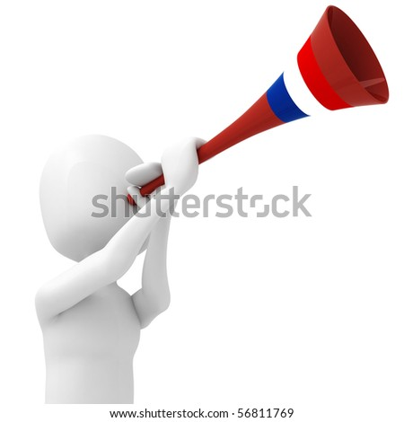3d man and vuvuzela - stock photo