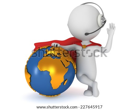 3d man brave superhero global manager with red cloak stand with Earth planet globe. Render isolated on white. Business, support, call center concept. - stock photo