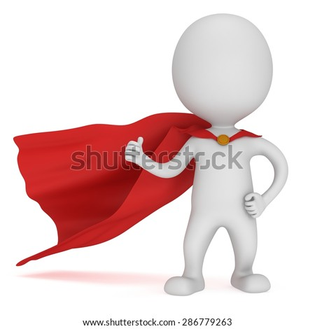 3d man - brave superhero with red cloak show thumbs up. Isolated on white - stock photo
