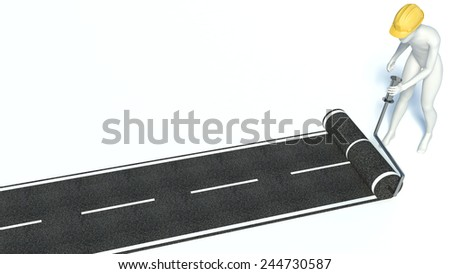 3d man builds a road from asphalt - stock photo