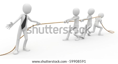 3d man business boss pulling a rope - stock photo