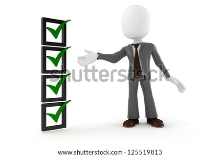 3d man business man and check list, on white background - stock photo
