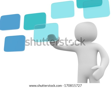 3d man business man making choice, on white background. 3d render - stock photo