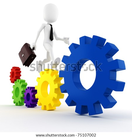 3d man business man running on some colorful wheel gears - stock photo