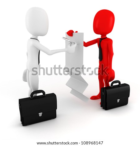 3d man business man signing on a blank document - stock photo