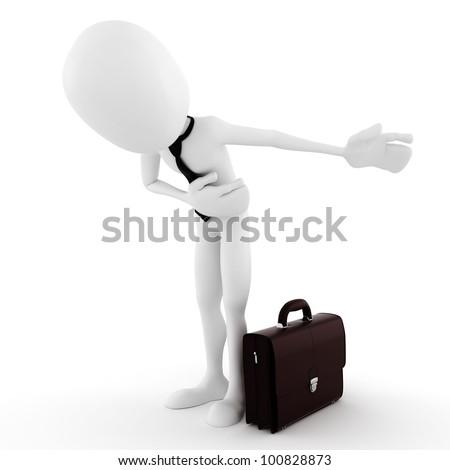 3d man business man, take a bow - stock photo