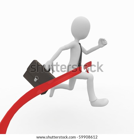 3d man business with red finish line - stock photo