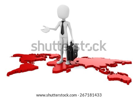 3d man businessman and world map on white background - stock photo