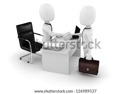 3d man businessman deal - stock photo