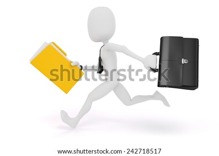 3d man businessman running on white background - stock photo