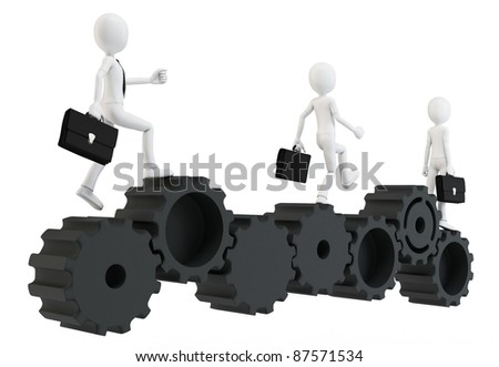 3d man businessman running with gears on white - stock photo